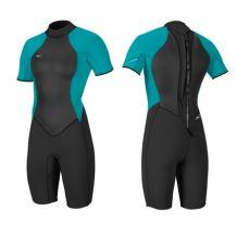O'Neill Bahia 2/1mm Shortie Wetsuit (Black/Capri) - Wetndry Boardsports
