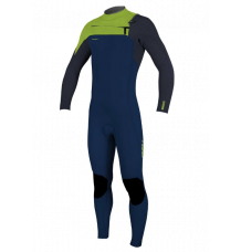 O'Neill Youth Hyperfreak 3/2mm Chest Zip Wetsuit (Abyss/Dayglo)