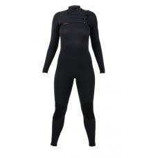 O'Neill Womens Hyperfreak 5/4+ Chest Zip Wetsuit (Black/Black)