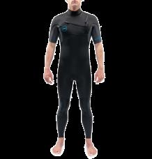 Dakine Quantum 3/2mm Chest Zip Short Sleeved Wetsuit (Black/Grey)