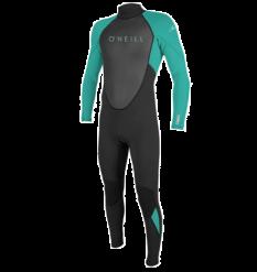 O'Neill Youth Reactor II 3/2mm Wetsuit (Black/Ocean) - Wetndry Boardsports