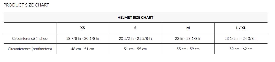 K2 Snow helmet size chart