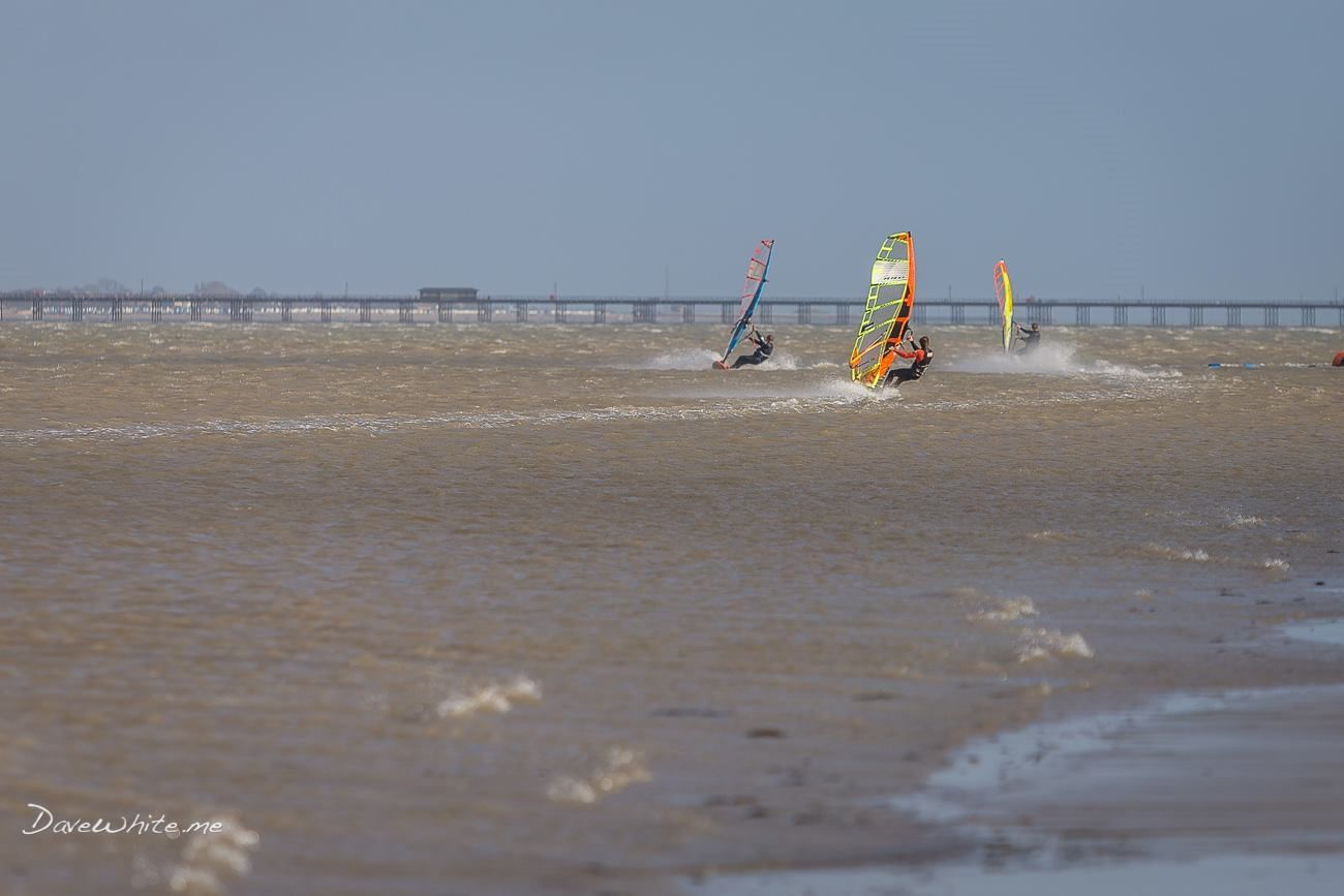 Windsurfing at the Ray in Southend-on-Sea, Essex